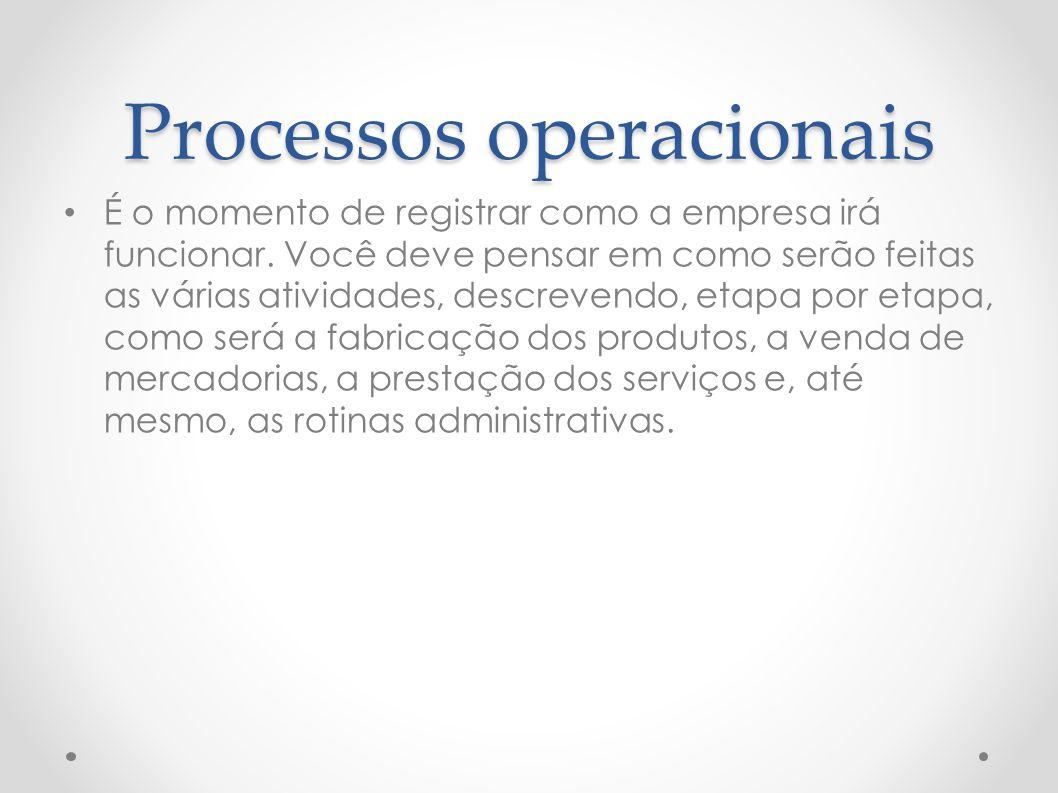 Processos operacionais É o momento de registrar como a empresa irá funcionar. Você deve pensar em como serão feitas as várias atividades, descrevendo,