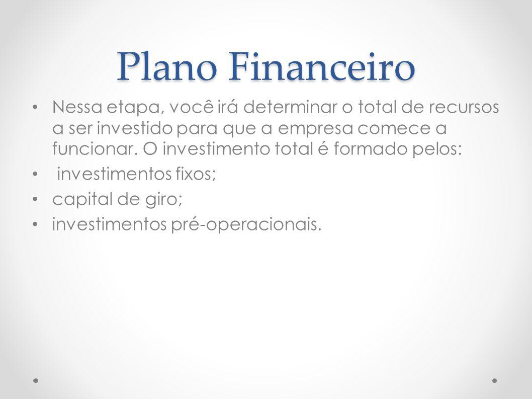 Plano Financeiro Nessa etapa, você irá determinar o total de recursos a ser investido para que a empresa comece a funcionar. O investimento total é fo