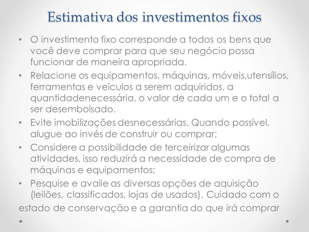 Estimativa dos investimentos fixos O investimento fixo corresponde a todos os bens que você deve comprar para que seu negócio possa funcionar de manei