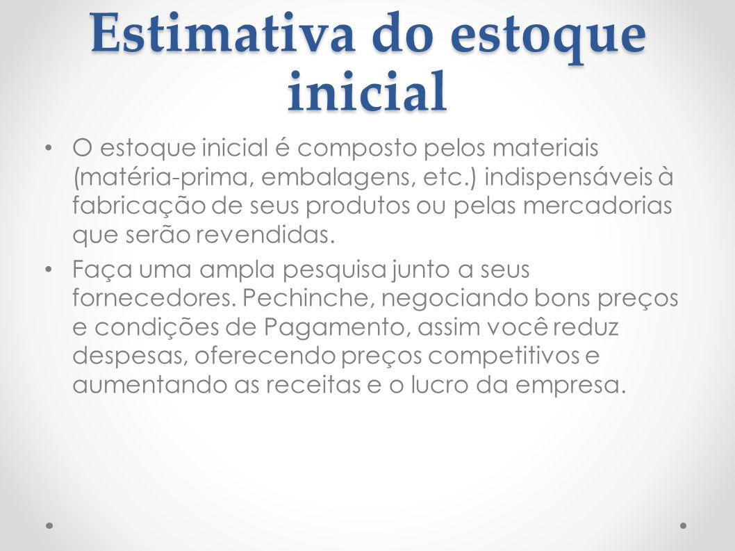 Estimativa do estoque inicial O estoque inicial é composto pelos materiais (matéria-prima, embalagens, etc.) indispensáveis à fabricação de seus produ