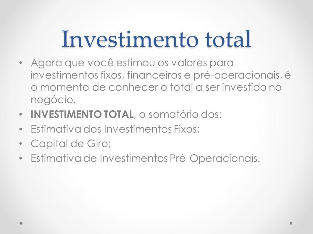 Investimento total Agora que você estimou os valores para investimentos fixos, financeiros e pré-operacionais, é o momento de conhecer o total a ser i