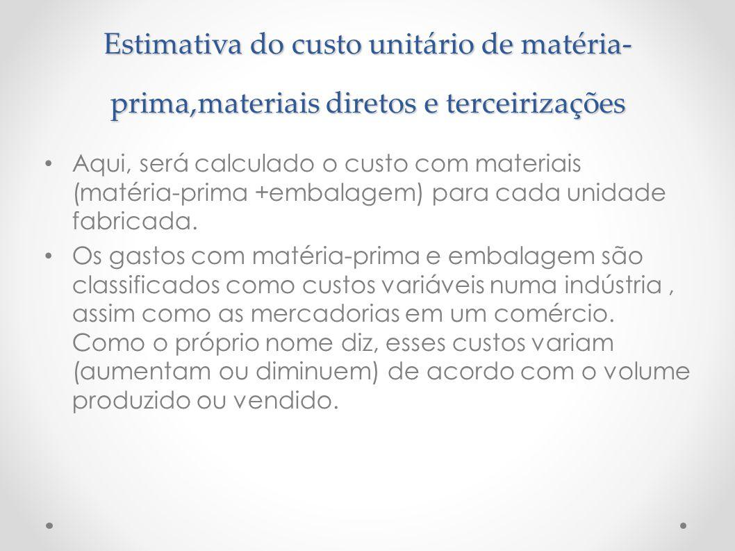 Estimativa do custo unitário de matéria- prima,materiais diretos e terceirizações Aqui, será calculado o custo com materiais (matéria-prima +embalagem