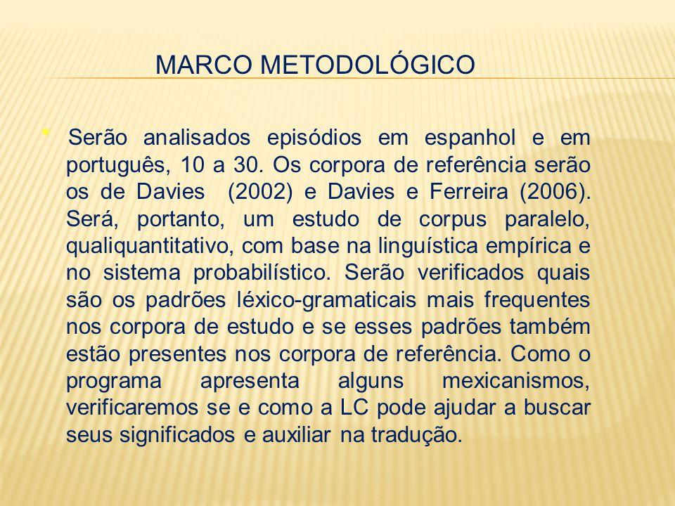 MARCO METODOLÓGICO ٭ Serão analisados episódios em espanhol e em português, 10 a 30.