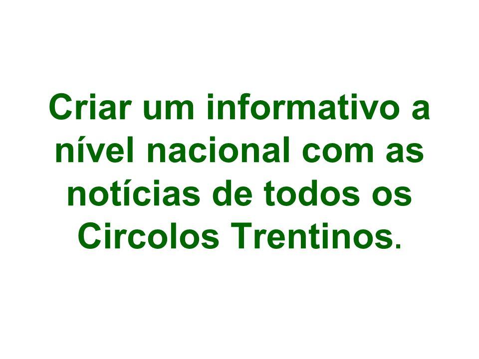 Criar um informativo a nível nacional com as notícias de todos os Circolos Trentinos.
