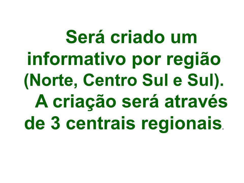 Será criado um informativo por região (Norte, Centro Sul e Sul).