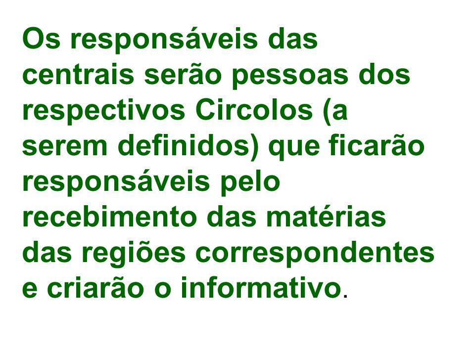 Os responsáveis das centrais serão pessoas dos respectivos Circolos (a serem definidos) que ficarão responsáveis pelo recebimento das matérias das regiões correspondentes e criarão o informativo.