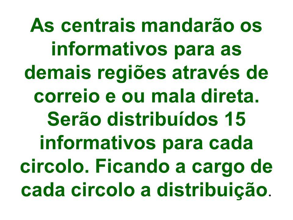 As centrais mandarão os informativos para as demais regiões através de correio e ou mala direta.
