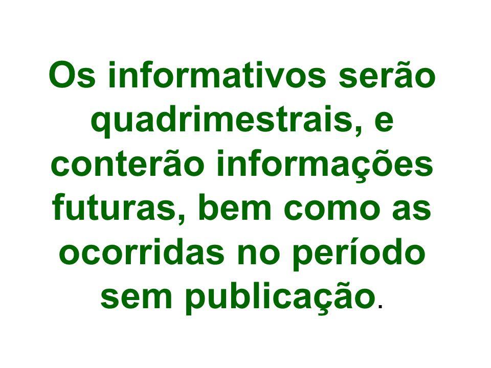 Os informativos serão quadrimestrais, e conterão informações futuras, bem como as ocorridas no período sem publicação.