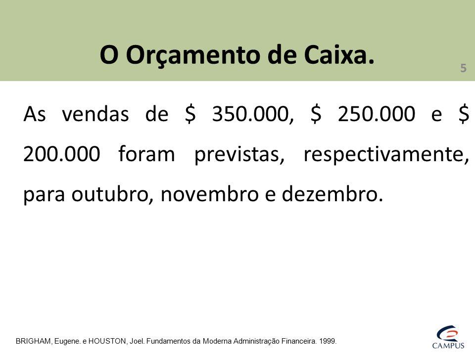 O Orçamento de Caixa. As vendas de $ 350.000, $ 250.000 e $ 200.000 foram previstas, respectivamente, para outubro, novembro e dezembro. BRIGHAM, Euge
