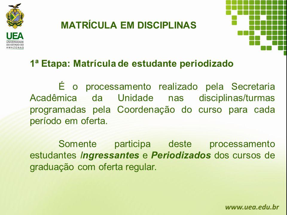 MATRÍCULA EM DISCIPLINAS 1ª Etapa: Matrícula de estudante periodizado É o processamento realizado pela Secretaria Acadêmica da Unidade nas disciplinas