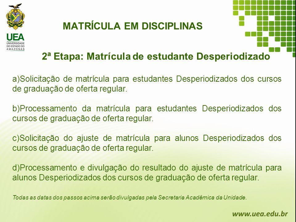 MATRÍCULA EM DISCIPLINAS 2ª Etapa: Matrícula de estudante Desperiodizado a)Solicitação de matrícula para estudantes Desperiodizados dos cursos de grad