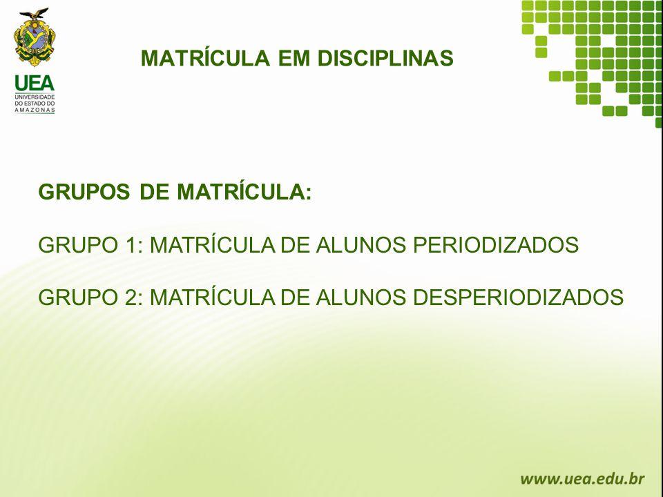 GRUPOS DE MATRÍCULA: GRUPO 1: MATRÍCULA DE ALUNOS PERIODIZADOS GRUPO 2: MATRÍCULA DE ALUNOS DESPERIODIZADOS