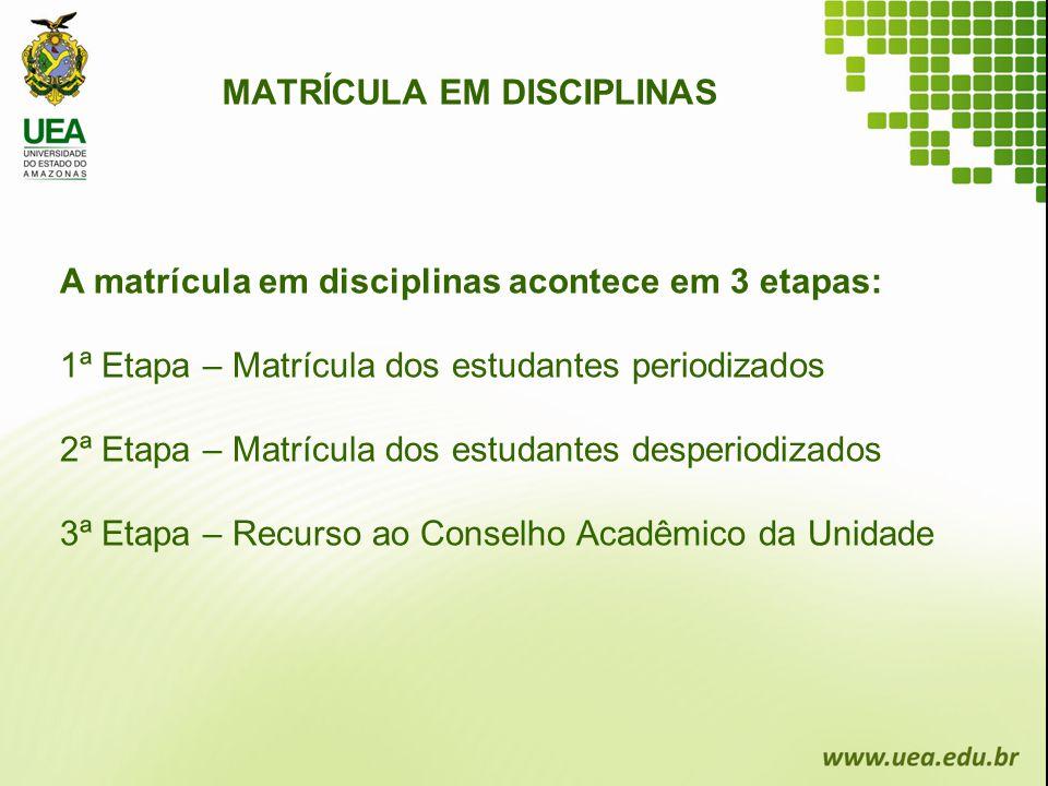 MATRÍCULA EM DISCIPLINAS A matrícula em disciplinas acontece em 3 etapas: 1ª Etapa – Matrícula dos estudantes periodizados 2ª Etapa – Matrícula dos es