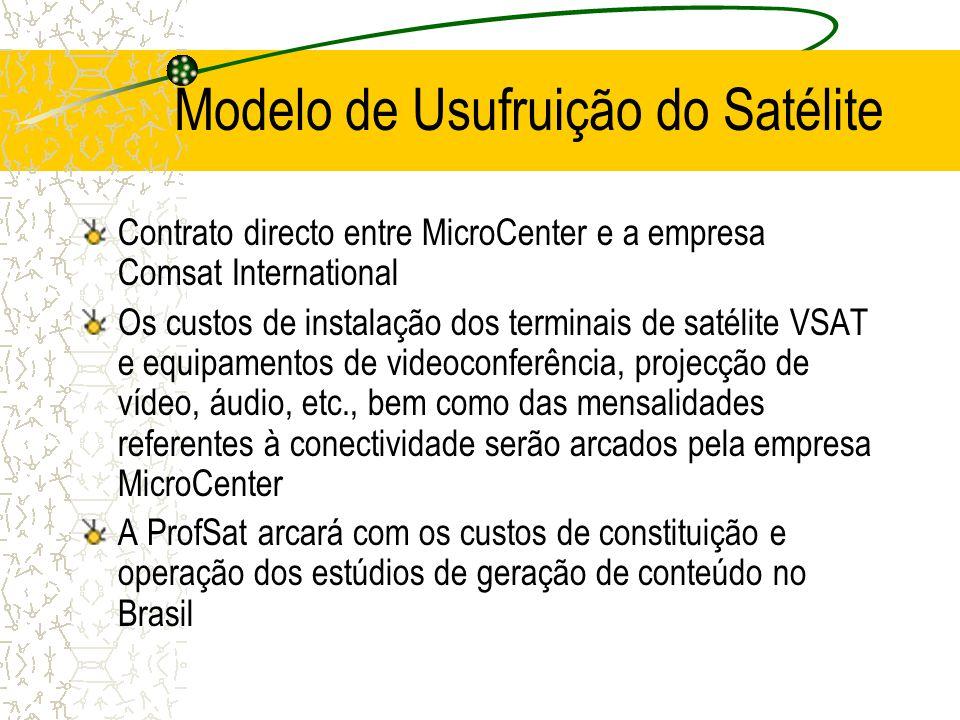 Modelo de Usufruição do Satélite Contrato directo entre MicroCenter e a empresa Comsat International Os custos de instalação dos terminais de satélite VSAT e equipamentos de videoconferência, projecção de vídeo, áudio, etc., bem como das mensalidades referentes à conectividade serão arcados pela empresa MicroCenter A ProfSat arcará com os custos de constituição e operação dos estúdios de geração de conteúdo no Brasil