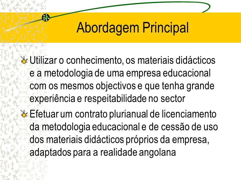 Abordagem Principal Utilizar o conhecimento, os materiais didácticos e a metodologia de uma empresa educacional com os mesmos objectivos e que tenha g