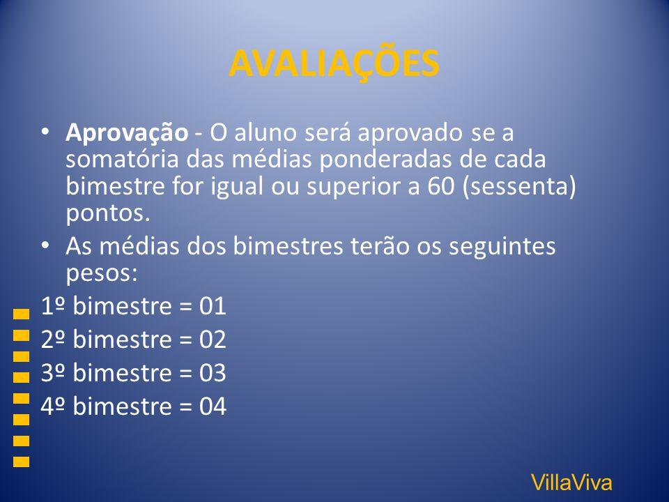 VillaViva AVALIAÇÕES Aprovação - O aluno será aprovado se a somatória das médias ponderadas de cada bimestre for igual ou superior a 60 (sessenta) pon