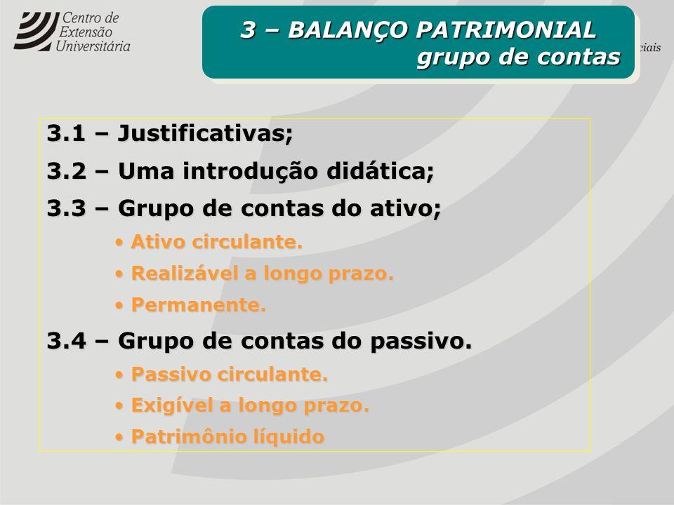 3.1 – Justificativas; 3.2 – Uma introdução didática; 3.3 – Grupo de contas do ativo; Ativo circulante. Ativo circulante. Realizável a longo prazo. Rea