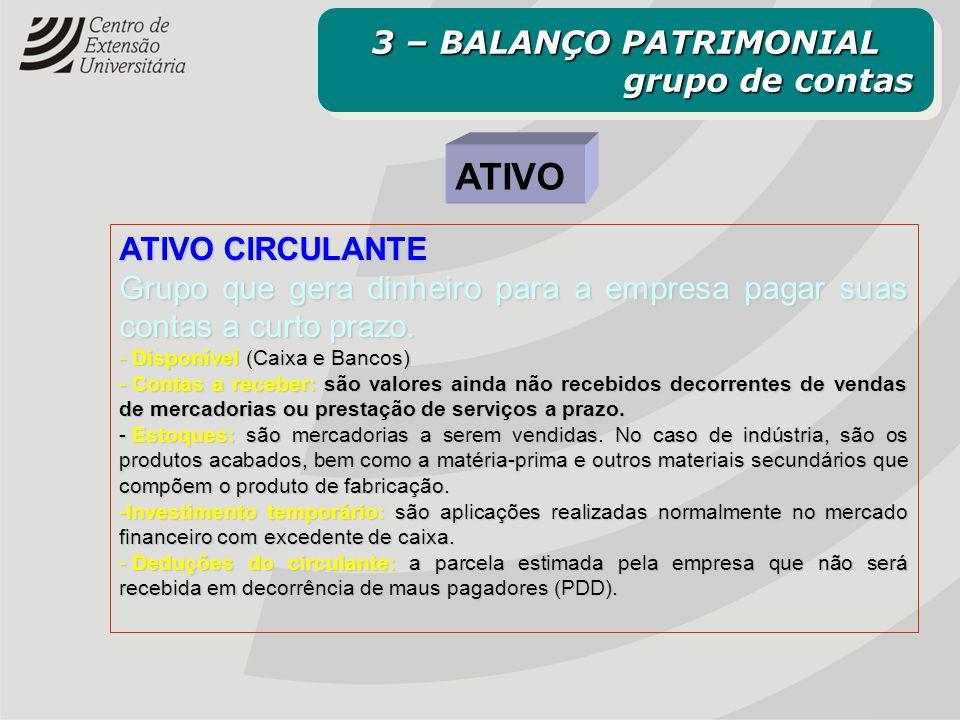 ATIVO ATIVO CIRCULANTE Grupo que gera dinheiro para a empresa pagar suas contas a curto prazo. - Disponível (Caixa e Bancos) - Contas a receber: são v