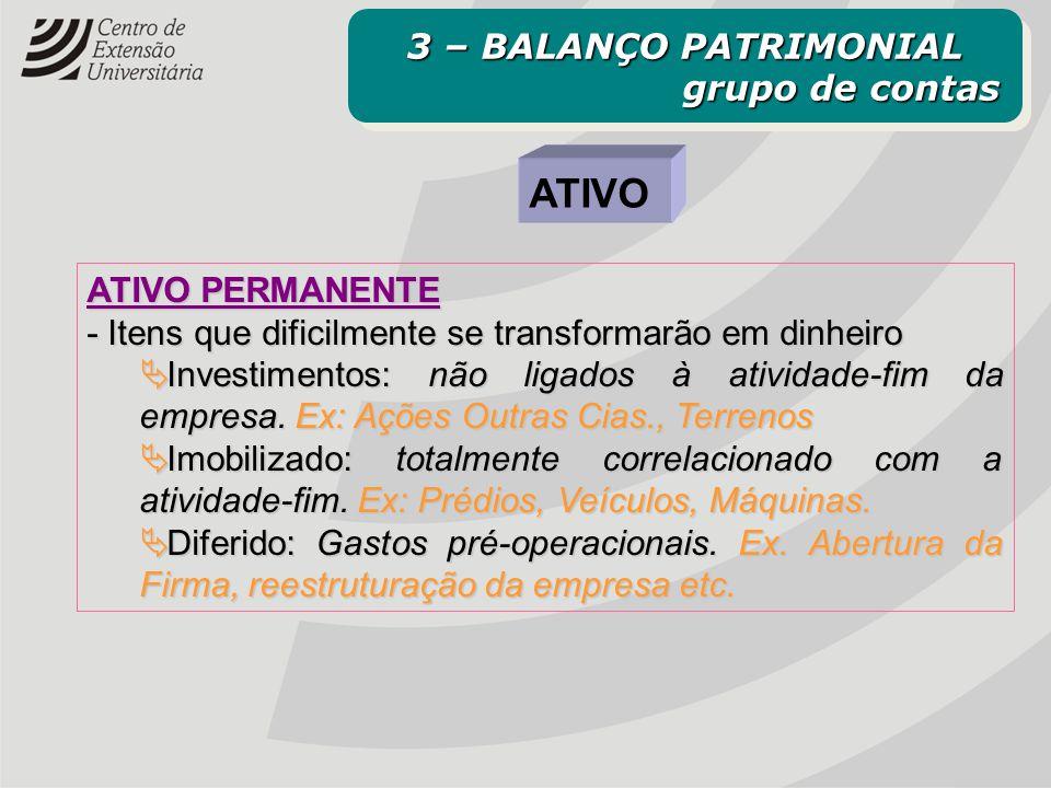 ATIVO PERMANENTE - Itens que dificilmente se transformarão em dinheiro  Investimentos: não ligados à atividade-fim da empresa. Ex: Ações Outras Cias.
