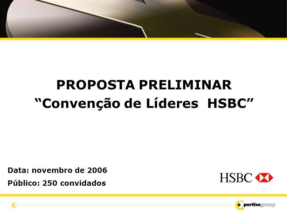 PROPOSTA PRELIMINAR Convenção de Líderes HSBC Data: novembro de 2006 Público: 250 convidados