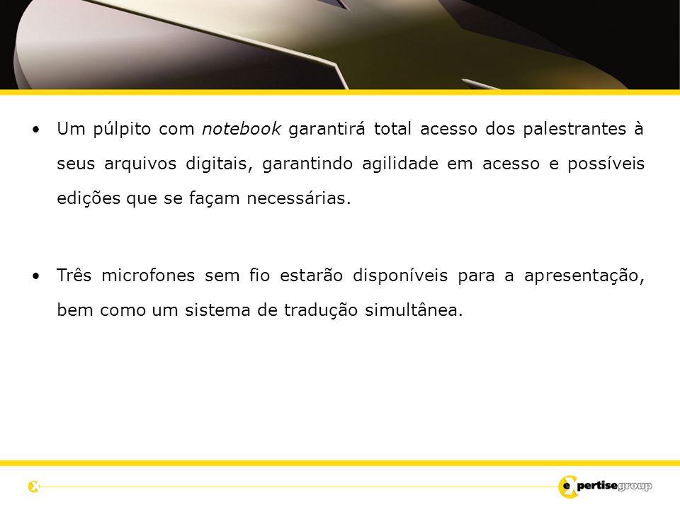 Um púlpito com notebook garantirá total acesso dos palestrantes à seus arquivos digitais, garantindo agilidade em acesso e possíveis edições que se façam necessárias.