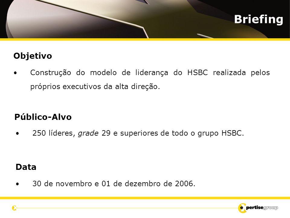 Objetivo Construção do modelo de liderança do HSBC realizada pelos próprios executivos da alta direção. Briefing Público-Alvo 250 líderes, grade 29 e