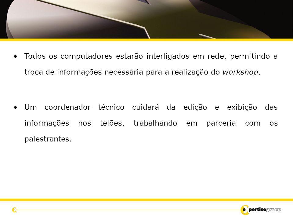 Todos os computadores estarão interligados em rede, permitindo a troca de informações necessária para a realização do workshop.