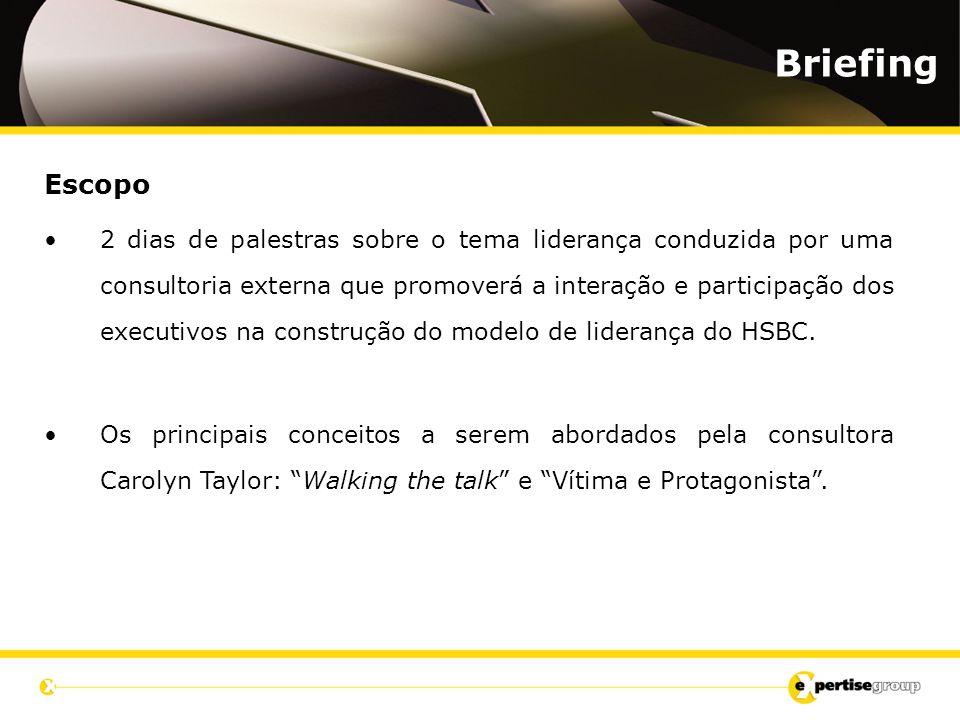 Escopo 2 dias de palestras sobre o tema liderança conduzida por uma consultoria externa que promoverá a interação e participação dos executivos na construção do modelo de liderança do HSBC.