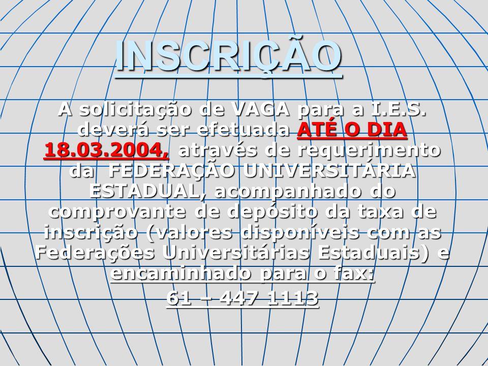 INSCRIÇÃO DA 2ª IES DA MESMA FEDERAÇÃO UNIVERSITÁRIA De 21 a 28.03.2005, na hipótese de não terem sido preenchidas as vagas originárias