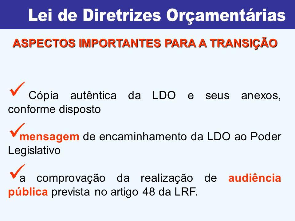 Cópia autêntica da LDO e seus anexos, conforme disposto mensagem de encaminhamento da LDO ao Poder Legislativo a comprovação da realização de audiência pública prevista no artigo 48 da LRF.