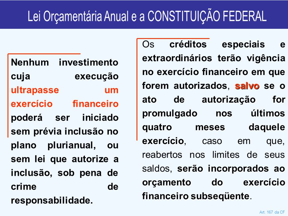 Nenhum investimento cuja execução ultrapasse um exercício financeiro poderá ser iniciado sem prévia inclusão no plano plurianual, ou sem lei que autorize a inclusão, sob pena de crime de responsabilidade.