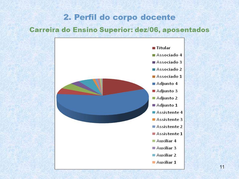 2. Perfil do corpo docente Carreira do Ensino Superior: dez/06, aposentados 11