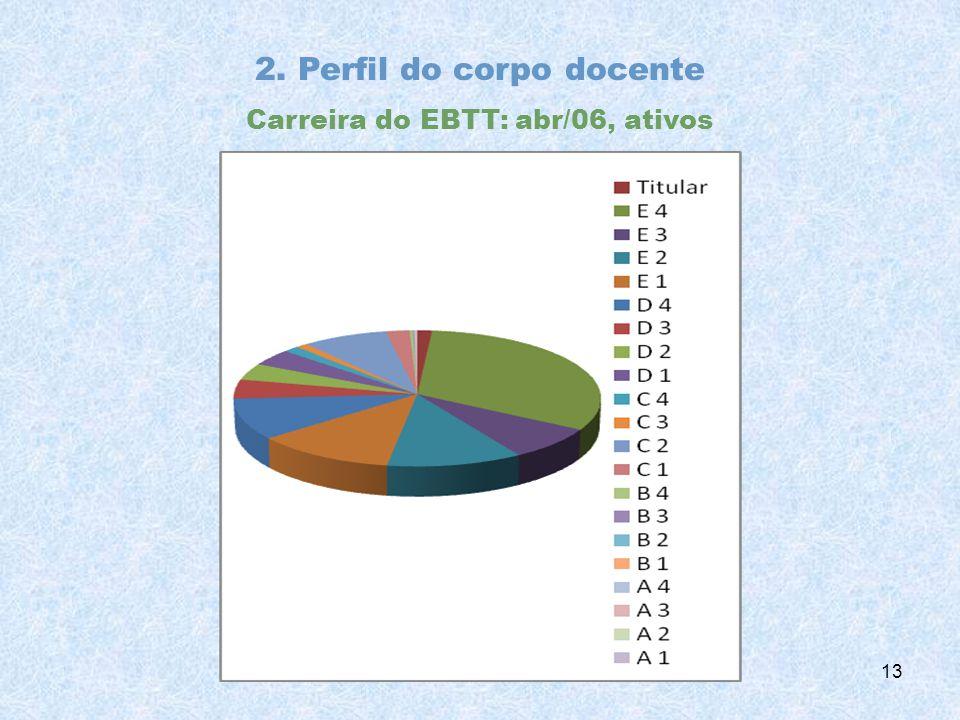 2. Perfil do corpo docente Carreira do EBTT: abr/06, ativos 13