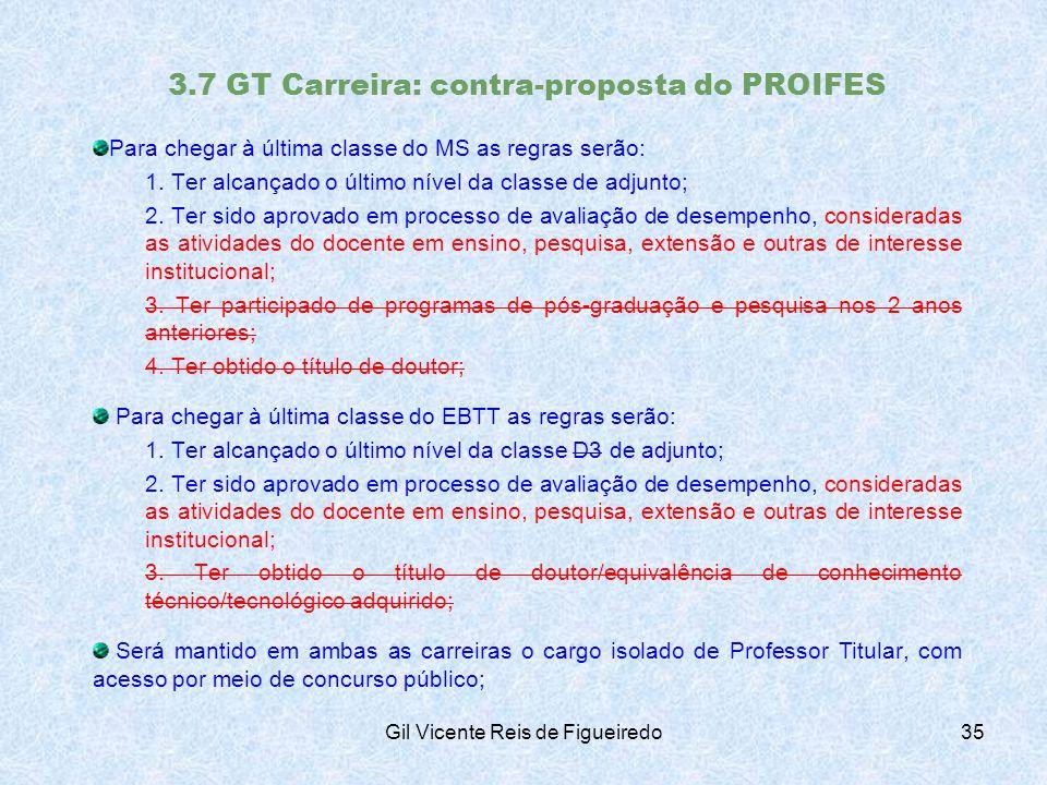 3.7 GT Carreira: contra-proposta do PROIFES Para chegar à última classe do MS as regras serão: 1.