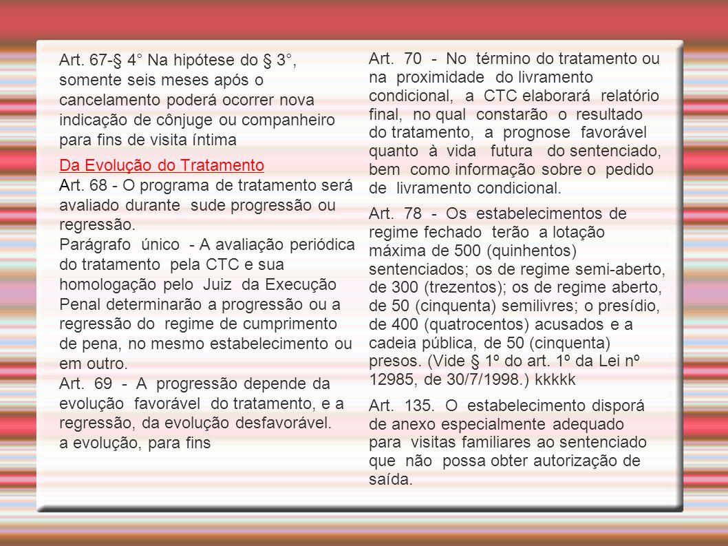 Art. 67-§ 4° Na hipótese do § 3°, somente seis meses após o cancelamento poderá ocorrer nova indicação de cônjuge ou companheiro para fins de visita í