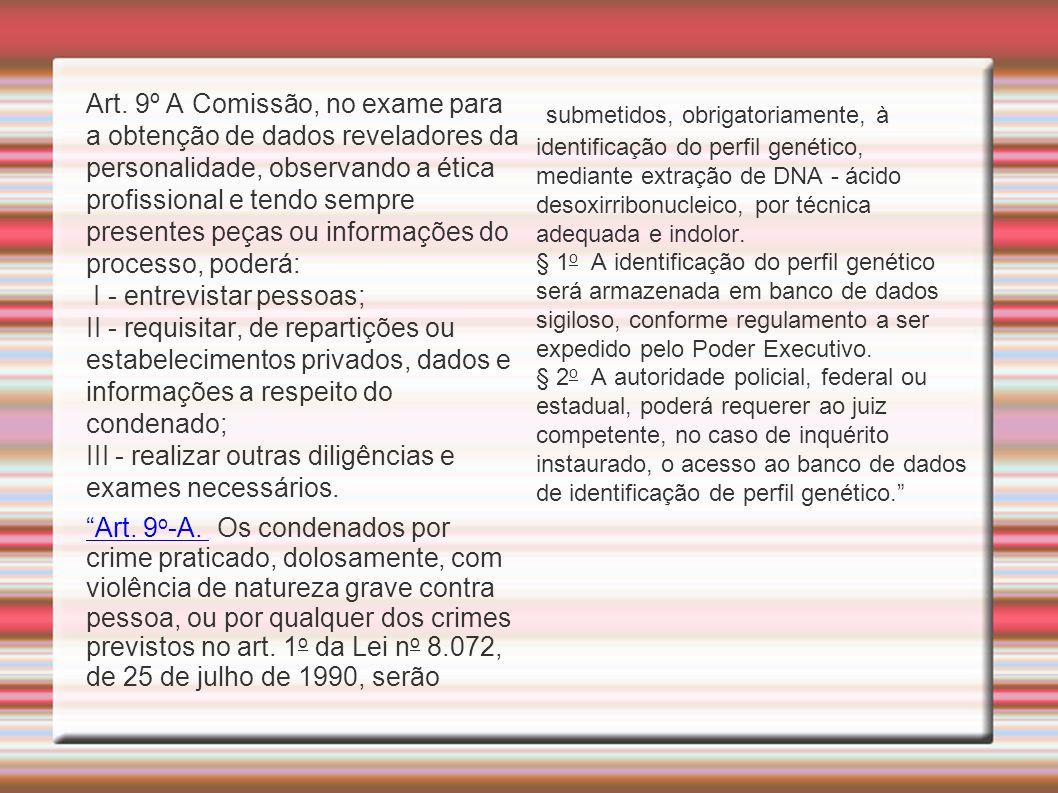 Art. 9º A Comissão, no exame para a obtenção de dados reveladores da personalidade, observando a ética profissional e tendo sempre presentes peças ou