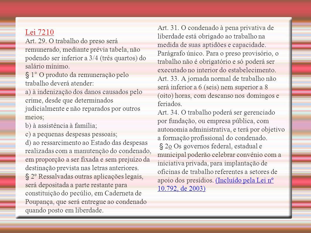 Lei 7210 Art. 29.