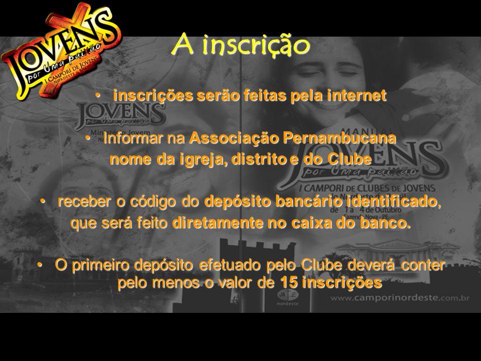 A inscrição Aguardar dois dias úteis após ter feito o depósito para acessar o site www.camporinordeste.com.br clicar em Novos Clubes Para validar suas inscrições Criar sua senha de acesso