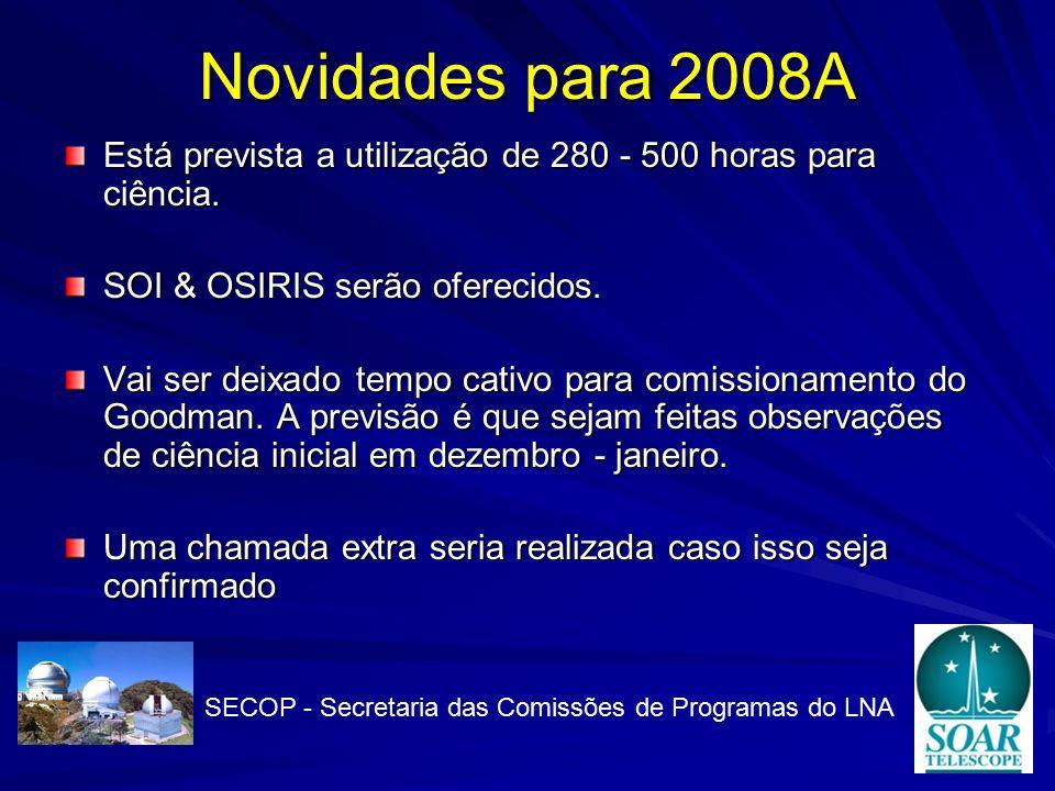 Novidades para 2008A Está prevista a utilização de 280 - 500 horas para ciência.