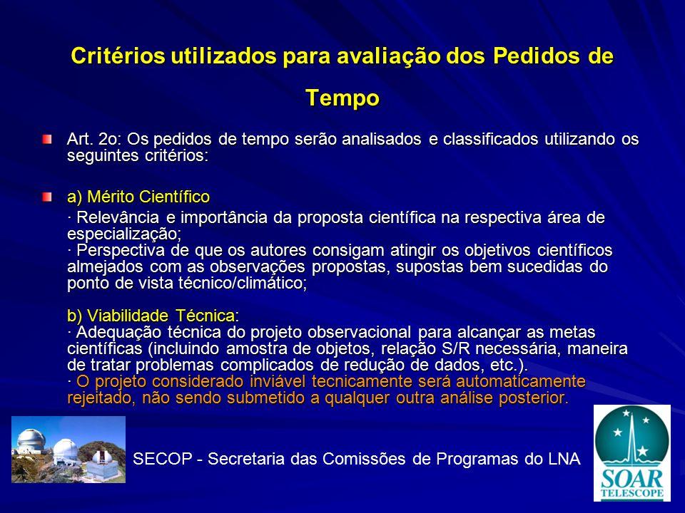 Critérios utilizados para avaliação dos Pedidos de Tempo Art.