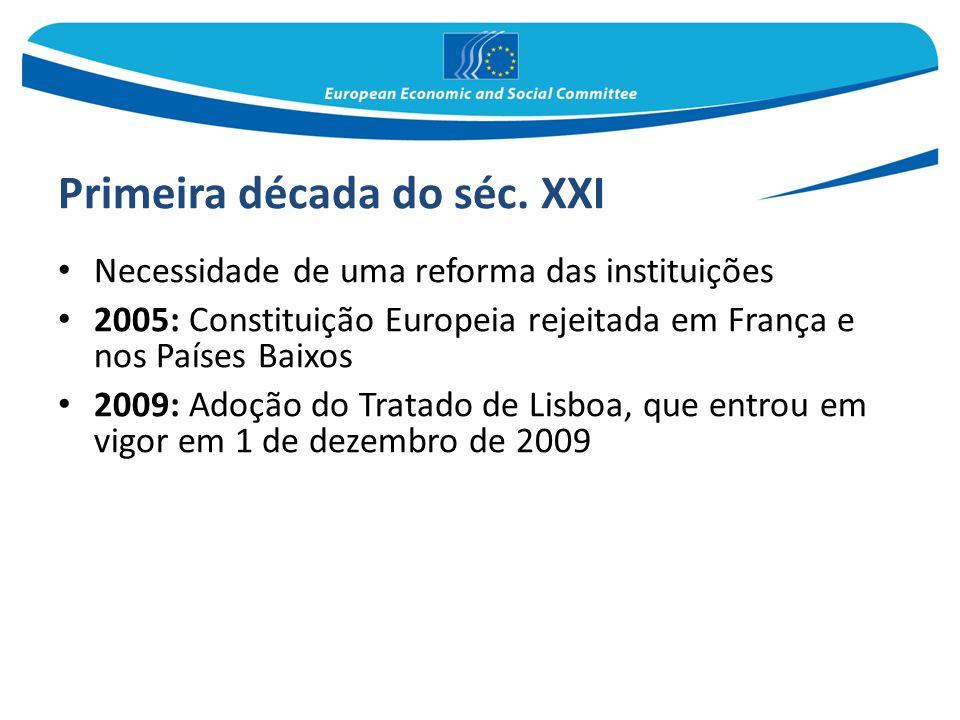 Primeira década do séc. XXI Necessidade de uma reforma das instituições 2005: Constituição Europeia rejeitada em França e nos Países Baixos 2009: Adoç