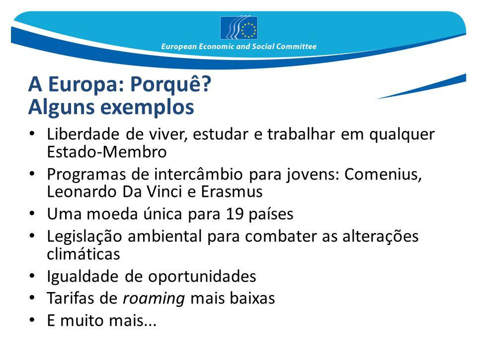 A Europa: Porquê? Alguns exemplos Liberdade de viver, estudar e trabalhar em qualquer Estado-Membro Programas de intercâmbio para jovens: Comenius, Le