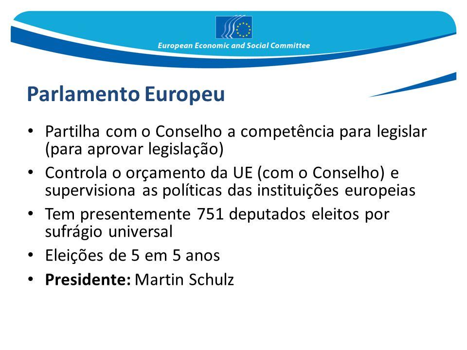 Parlamento Europeu Partilha com o Conselho a competência para legislar (para aprovar legislação) Controla o orçamento da UE (com o Conselho) e supervi