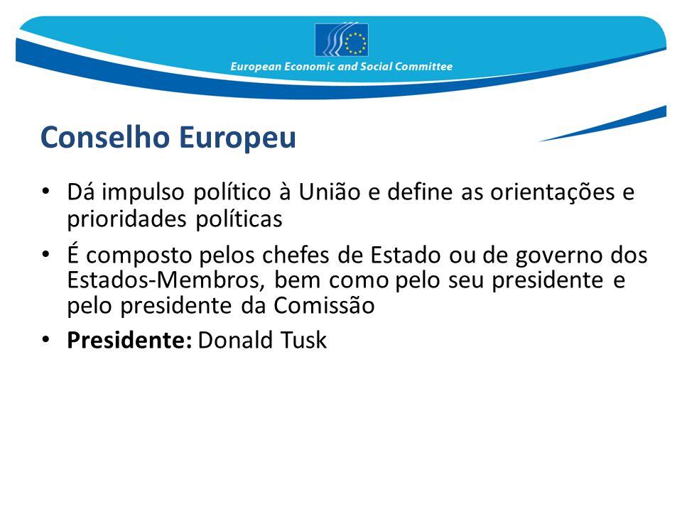 Conselho Europeu Dá impulso político à União e define as orientações e prioridades políticas É composto pelos chefes de Estado ou de governo dos Estad