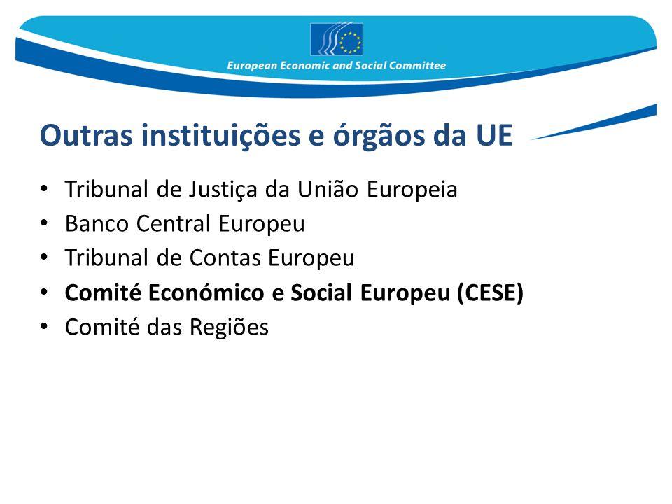 Outras instituições e órgãos da UE Tribunal de Justiça da União Europeia Banco Central Europeu Tribunal de Contas Europeu Comité Económico e Social Eu