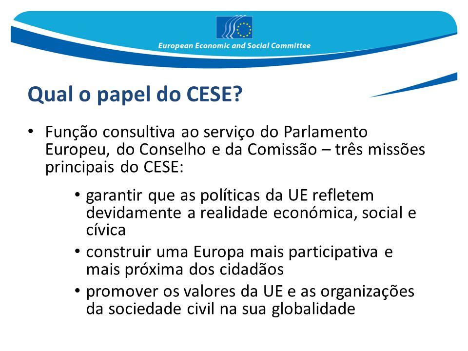 Qual o papel do CESE? Função consultiva ao serviço do Parlamento Europeu, do Conselho e da Comissão – três missões principais do CESE: garantir que as