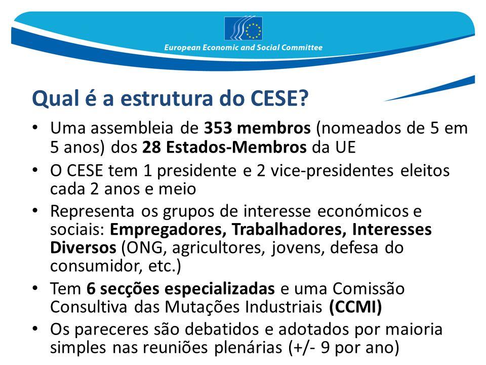 Qual é a estrutura do CESE? Uma assembleia de 353 membros (nomeados de 5 em 5 anos) dos 28 Estados-Membros da UE O CESE tem 1 presidente e 2 vice-pres