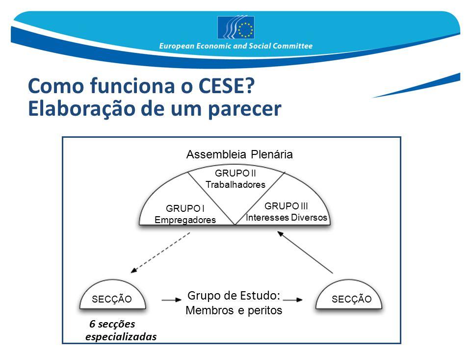 Como funciona o CESE? Elaboração de um parecer 6 secções especializadas Assembleia Plenária GRUPO II Trabalhadores GRUPO III Interesses Diversos SECÇÃ