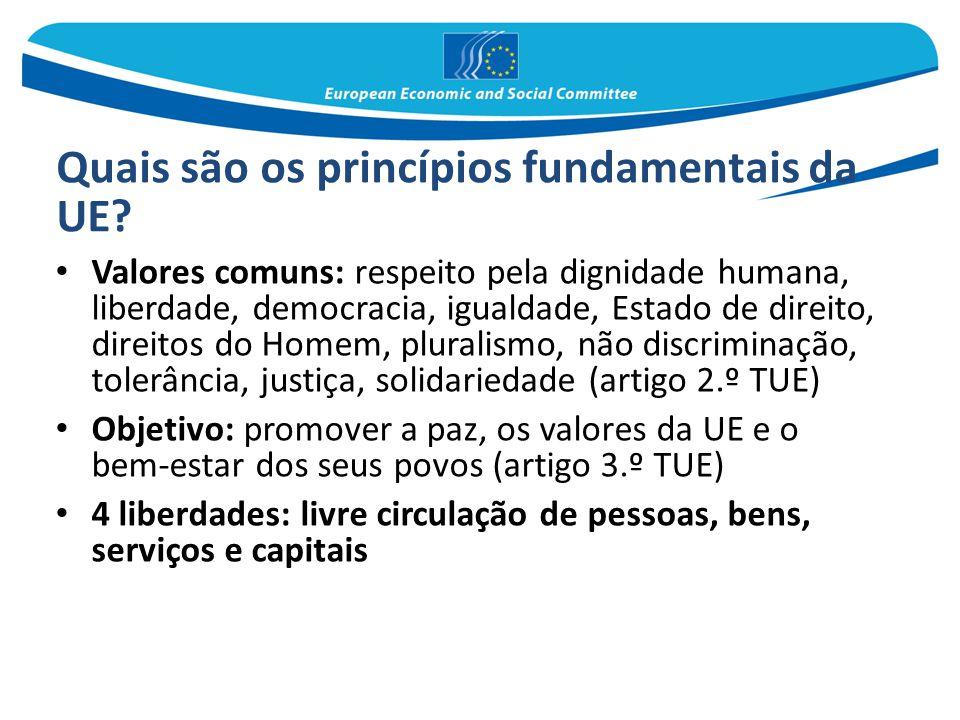 Quais são os princípios fundamentais da UE? Valores comuns: respeito pela dignidade humana, liberdade, democracia, igualdade, Estado de direito, direi