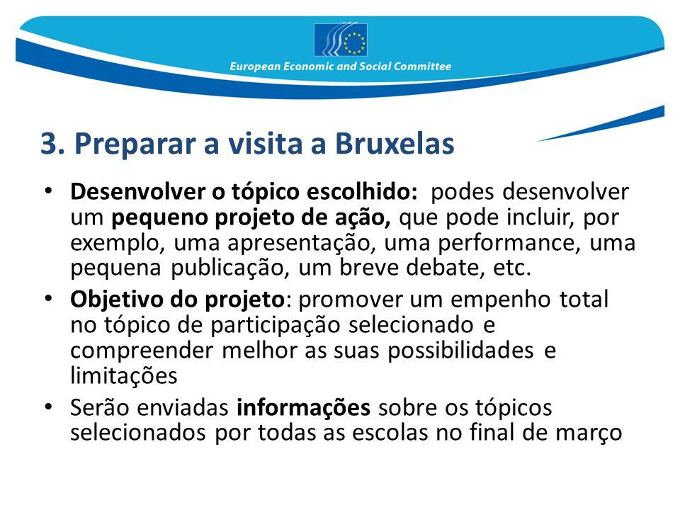 3. Preparar a visita a Bruxelas Desenvolver o tópico escolhido: podes desenvolver um pequeno projeto de ação, que pode incluir, por exemplo, uma apres